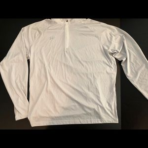 NEW Under Armour Pull Over LOGO Wht/Gray THIN Stri